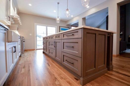 Brown Island Cabinets with White Perimeter Cabinets Shaker Style