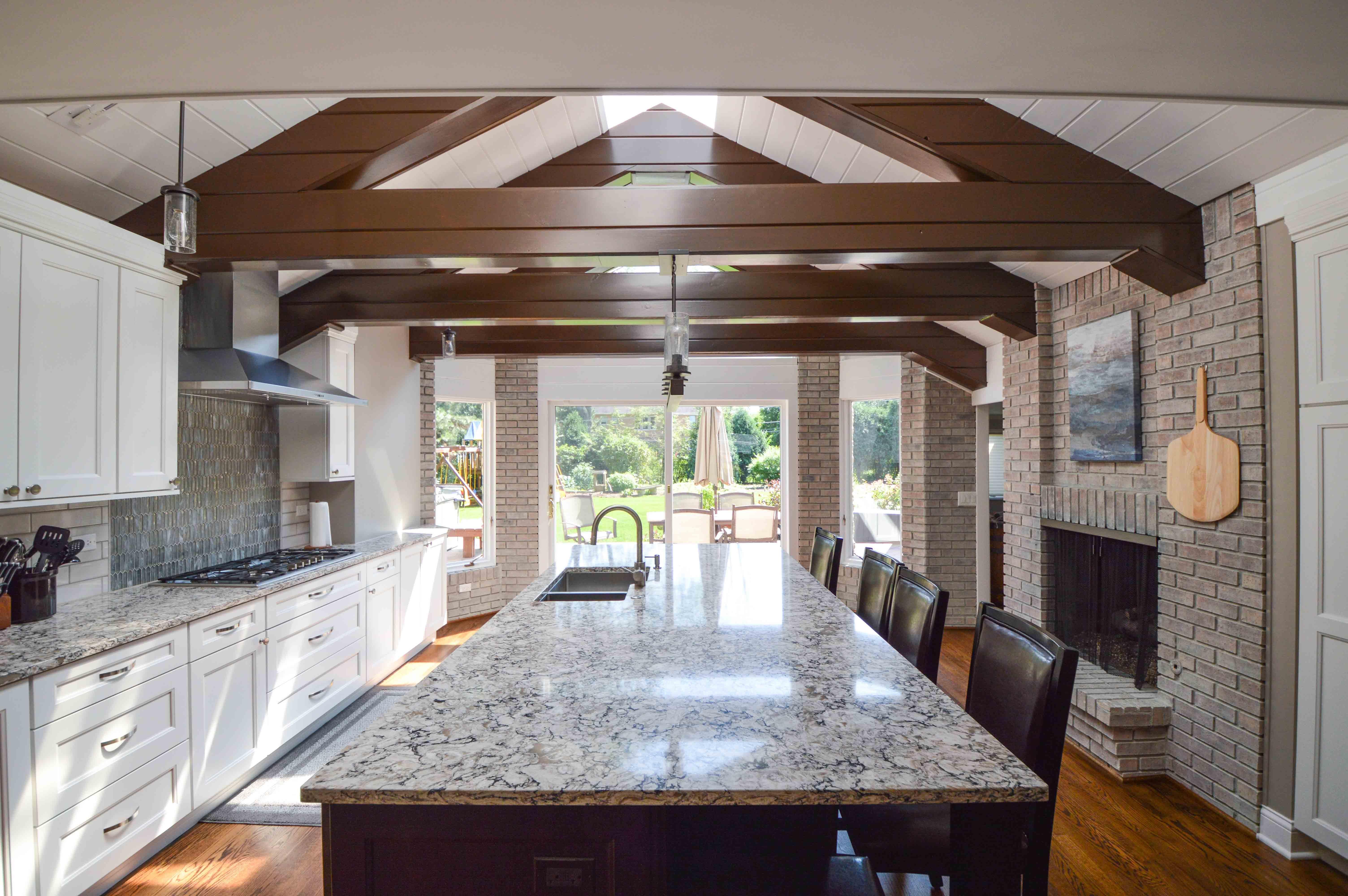 Large quartz kitchen island